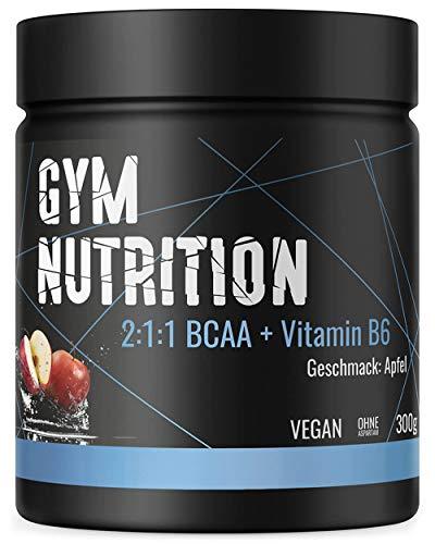 BCAA PULVER + VITAMIN B6 - Höchste Dosierung der Amino-Säuren Leucin, Isoleucin und Valin im Verhältnis 2:1:1 - Vegan und hochdosiert - APFEL