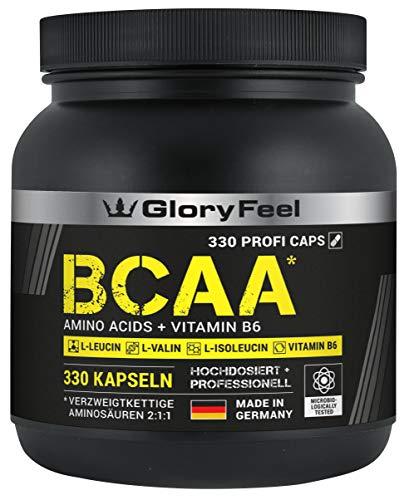 GloryFeel BCAA 330 Kapseln - Der VERGLEICHSSIEGER 2019*- Essentielle Aminosäuren Leucin, Valin und Isoleucin Plus Vitamin B6 - Laborgeprüft und ohne Zusätze hergestellt in Deutschland