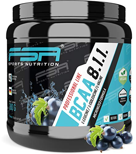 BCAA 8:1:1 Pulver, Low Carb ohne Dextrose, Vegan, Made in Germany - FSA Nutrition - 300 g - schwarze Johannisbeere