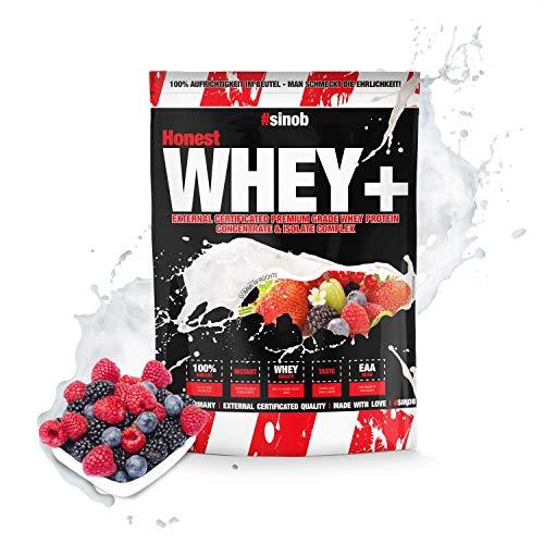 sinob Honest Whey Protein - Sommerfrüchte - 1 x 1000 g. 12,5% Isolate Anteil. Instant lösliches Eiweißpulver mit BCAA & EAA 'Hergestellt in Deutschland'