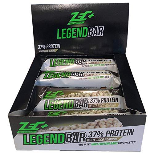 Zec+ Legend Bar Proteinriegel - White Chocolate-Coconut 12er Box 840 G, Eiweißriegel Mit 37% Proteingehalt Und Aminosäuren, Hochwertiger Powerbar Mit 3-Komponenten-Protein